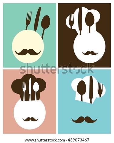 chef hat retro poster menu design. - stock vector
