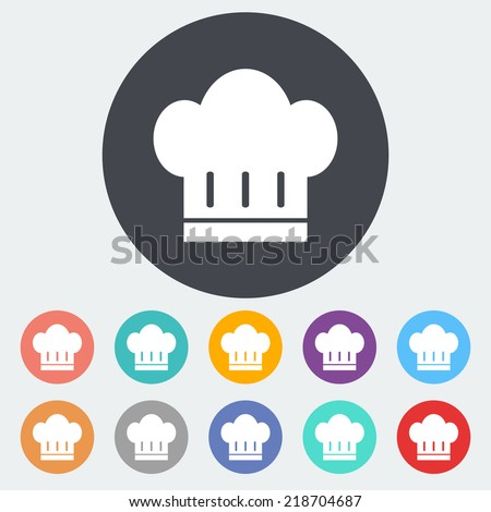 Chef hat. Single flat icon on the circle. Vector illustration. - stock vector