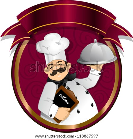 Chef holding a food inside of a circle with banner - stock vector