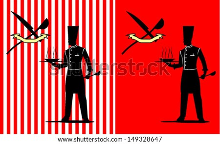Chef holding a tray with the bowl, while at the left hand holding a ladle. Combine with the knife and ladle Icon. Standing Silhouette Chef with the Red Background. - stock vector