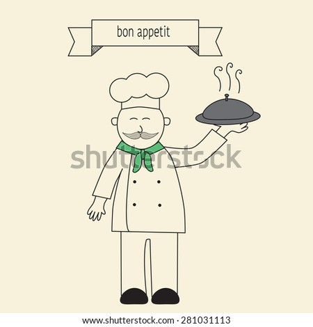 Chef holding food in the linear style - stock vector
