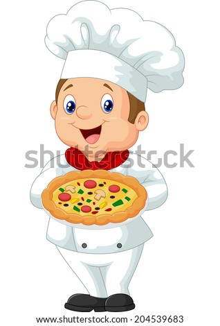 Chef holding pizza - stock vector