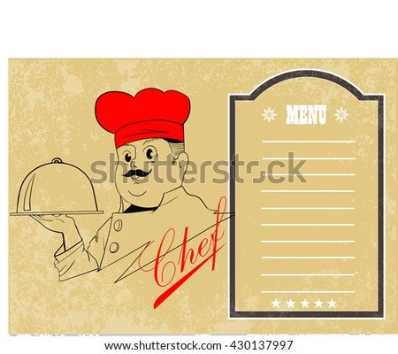 chef holding silver platter with restaurant menu - stock vector