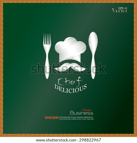 chef icon.Chef icon with spoon and fork on chalkboard.Chef symbol.vector illustration. - stock vector