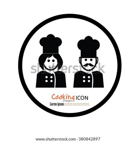 chef icon.chef man and woman  Chef symbol.vector illustration. - stock vector