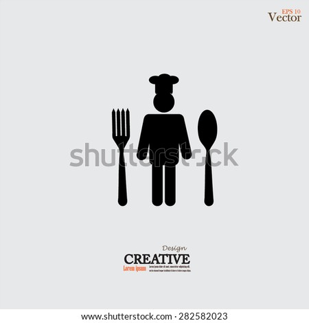 Chef icon with spoon and fork.Chef symbol.vector illustration. - stock vector