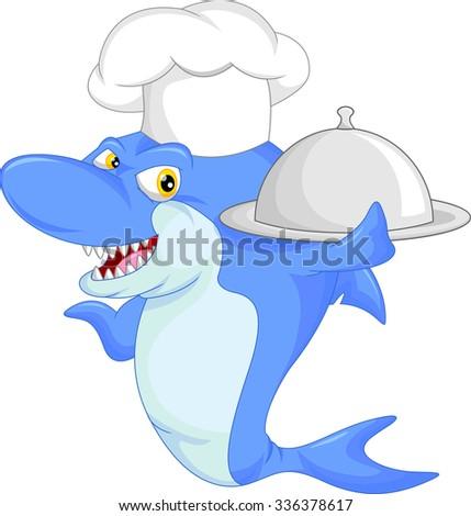 chef shark cartoon - stock vector