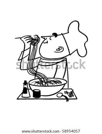 Chef Testing Noodles - Retro Clip Art - stock vector