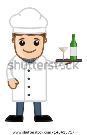 Chef with Champagne - Cartoon Business Vector Character - stock vector