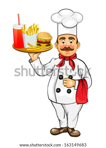 Chef with fast food products - stock vector