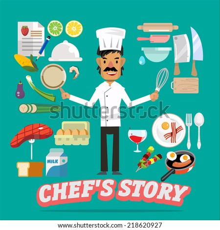 chef with food and kitchen element - vector illustration - stock vector
