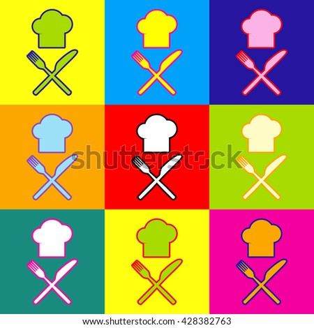 Chef with knife and fork sign - stock vector