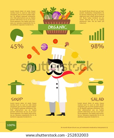 Chef with organic vegetable. flat design info graphic. vector illustration - stock vector