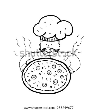 Chef with pizza, handmade ink vector illustration - stock vector