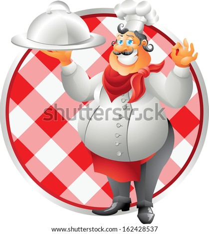 chef with plate table cloth - stock vector