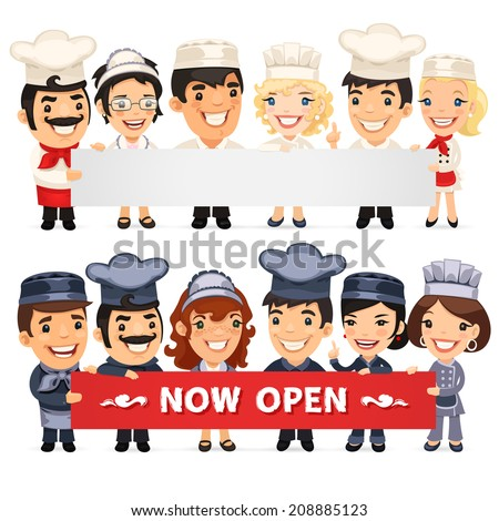 Chefs Presenting Empty Horizontal Banner. In the EPS file each element is grouped separately. - stock vector