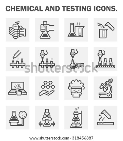 Chemical and testing icons sets. - stock vector