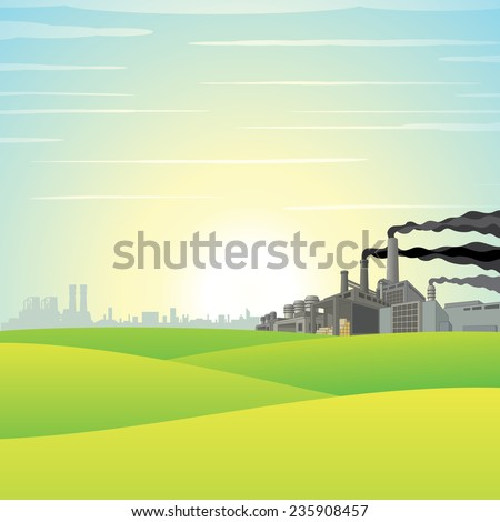 Chemical Factory on Green Meadow. Vector Landscape - stock vector