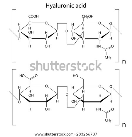 Chemical formula of hyaluronic acid, molecular structure, 2d isolated vector, eps 8 - stock vector