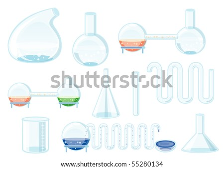 Chemical glass set - stock vector