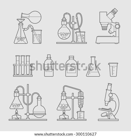 chemical glassware icons set. The test tube beaker flask - stock vector