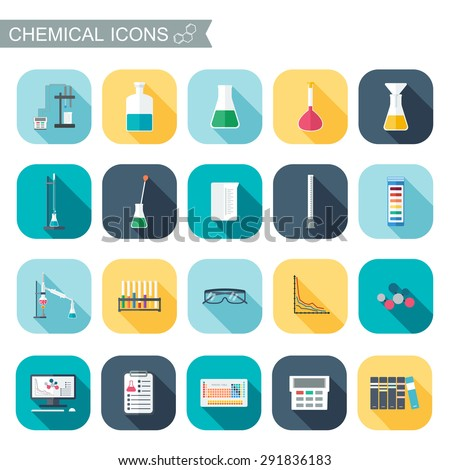 Chemical icons. Chemical glassware.  Flat design. Vector illustration - stock vector
