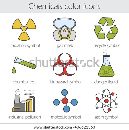 Chemical industry color icons set. Gas mask, recycle symbol, chemical test tube, poison danger, factory pollution. Biohazard, radiation, atom and molecule symbols. Vector isolated illustrations - stock vector