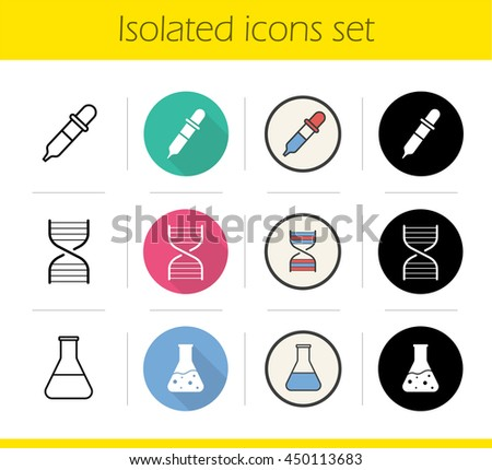 Chemical lab icons set. Flat design, linear, black and color styles. Science research equipment. Medical laboratory flask with liquid, DNA spiral and dropper. Isolated vector illustrations - stock vector