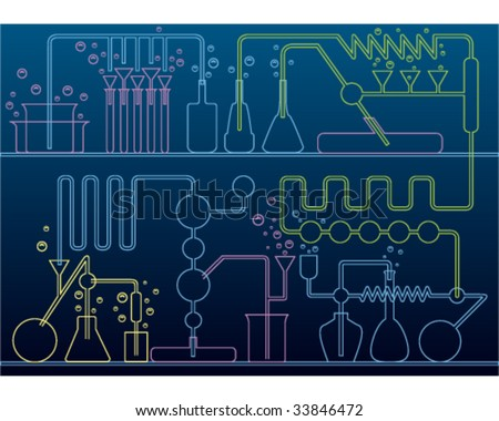 chemical laboratory background - stock vector