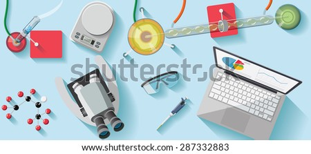 Chemical laboratory desk flat illustration  - stock vector