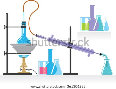 chemical laboratory experiment with liquids. chemical equipment - stock vector