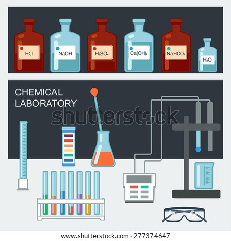 Chemical Laboratory. Flat design. Chemical glassware, measuring utensils, ion electrode, test pH paper. Vector illustration - stock vector