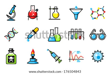 Chemical laboratory icons set - stock vector
