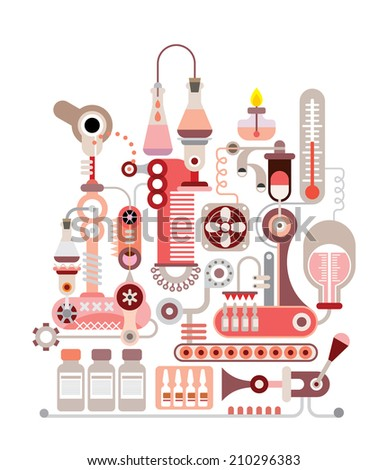 Chemical Laboratory - isolated vector illustration on white background. - stock vector