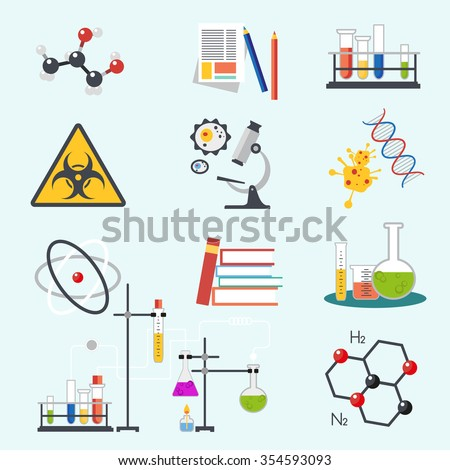 Chemical laboratory science and technology flat style design vector illustration icons. Workplace tools icon.  - stock vector