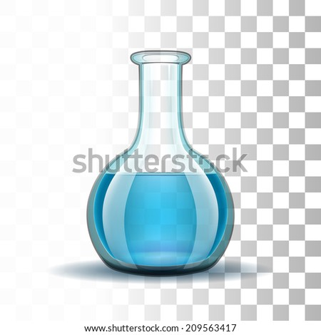 Chemical laboratory transparent flask with blue liquid.  Vector illustration - stock vector
