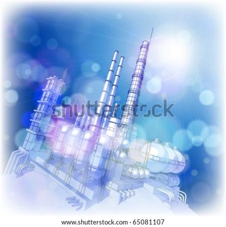 Chemical plant & blue sky - stock vector