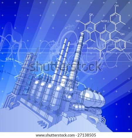 Chemical plant & blue technology background - stock vector