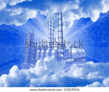 Chemical plant & technology background - stock vector