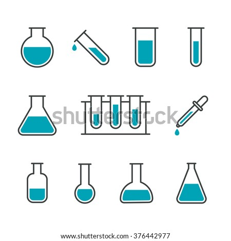 Chemical science lab equipment - test tubes icons. Different shapes. Isolated on white background. Vector illustration, eps 8. - stock vector