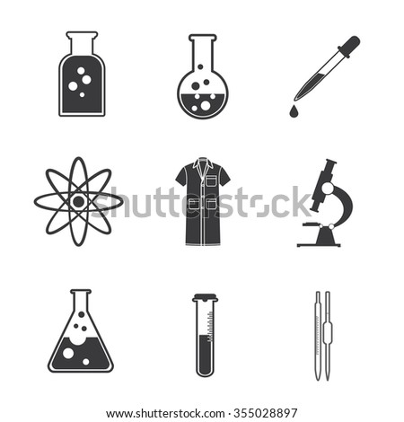 Chemical science lab equipment - test tubes icons. Different shapes. Vector illustration, eps 10. - stock vector