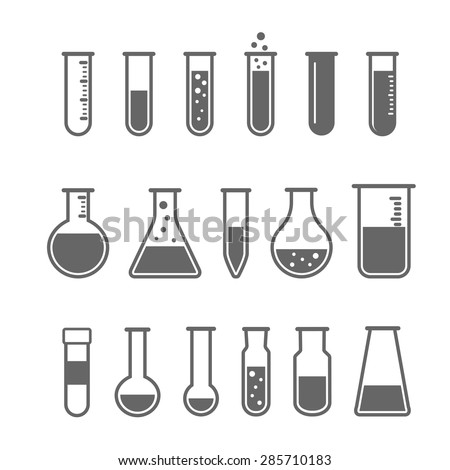 Chemical test tube pictogram icons set. Chemical lab equipment isolated on white. Experiment flasks for science experiment.  - stock vector