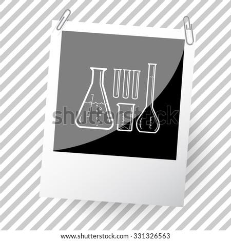 chemical test tubes. Photoframe. Vector icon. - stock vector
