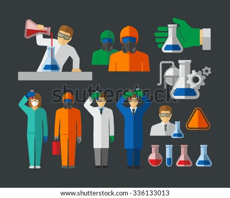 Chemist and Material Scientist holding test tube making research in laboratory vector  - stock vector