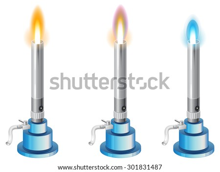 Chemistry Apparatus - Bunsen Burner with Different type of Flames - Illustration - stock vector