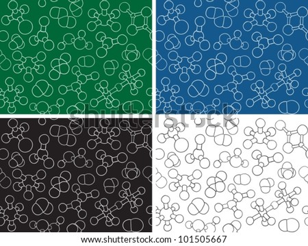 Chemistry background - seamless pattern molecule models, hand-drawn illustration - stock vector
