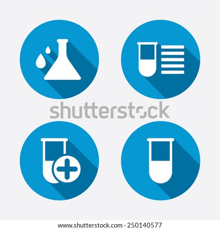 Chemistry bulb with drops icon. Medical test signs. Laboratory equipment symbols. Circle concept web buttons. Vector - stock vector