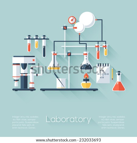 Chemistry education research laboratory equipment. Flat style with long shadows. Modern trendy design. Vector illustration. - stock vector