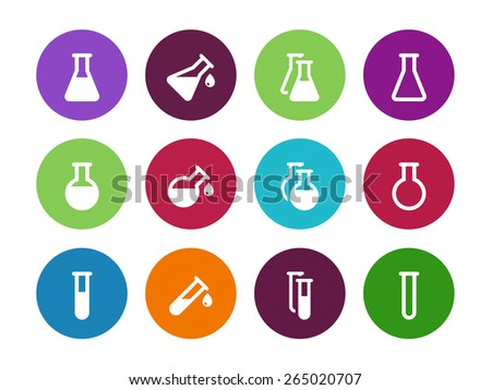 Chemistry flask circle icons on white background. Vector illustration. - stock vector