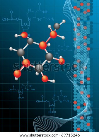 chemistry formula background with atomic structure - stock vector